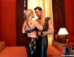 Dominatrix Kathia Nobili gives blowjob in leather gloves!