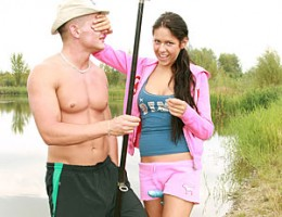Sweet teenager fucking with a fisherman on a horny trip