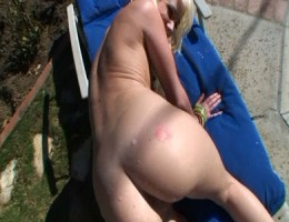 White little dirty slut sucks a fat cock outdoors.