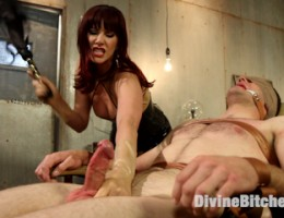 Maitresse Madeline prostate milks and steals the sperm from her aching balled slave.