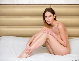 Sade Mare is 23 and looking hot in a sheer dress that shows off her bra and thong. She flirts and flaunts her tight little body before peeling off her clothes, leaving herself naked and eager to play with her perky all naturals and the lushness of her swe