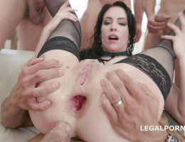 7on1 Gangbang with Anna de Ville, Balls deep Anal & DAP, big gapes, crazy cumshot GIO1114