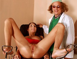 Senior doctor inspecting a sexy babe her tight asshole