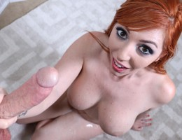Horny redhead Lauren jerks big cock and get facial cumshot