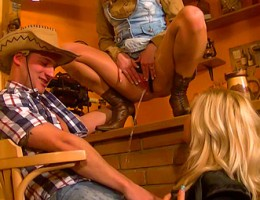 A strange cowboy playing dude rails two hotties hardcore
