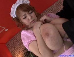 Busty Asian maid Hitomi Tanaka gets full load of cum