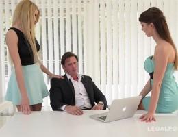 Leggy babes Susan Ayn & Karina Grand seduce guy for hardcore office fuck GP621
