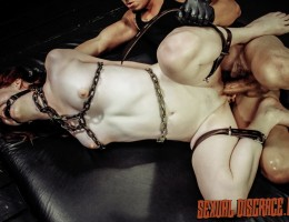 Emma Evins loves crazy wild sex, the kind obedient BDSM slaves can endure for hours. This hot ginger babe has met her match with her new Daddy. He\'s a master of domination, rough sex, leather and chain bondage, breast bondage, spanking, tit slapping, fac