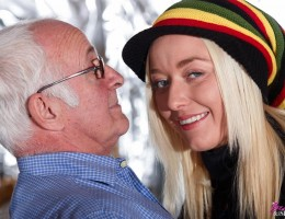 A hot young blonde slut sucking and fucking an old dude