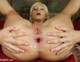 Flexible European anal slut masturbates and fucked with enema.