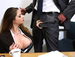 Jay Snake keeps telling his busty receptionist Cathy Heaven to stop wearing such revealing clothing to work, but she\'s such a cock-hungry slut that she just won\'t listen! One day, she spills some coffee on his lap, and uses the opportunity to rub his fa