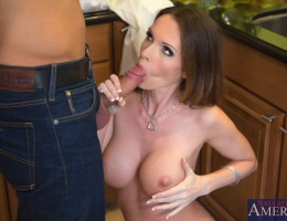 Busty Jennifer Dark gets fucked by her boyfriend\'s friend and orgasms from his big cock.