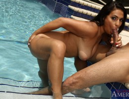 Busty big breasted babe is out by the pool and fucks her friends boyfriend.