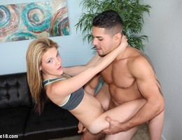 Horny teen get banged hard by her trainor after exercise workout
