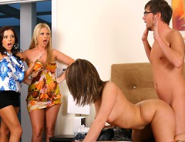 Hot long leg perfect ass babes walk in on their sisters neice getting fucked hard on the bed then decide to join the fun in these hot milf fucking and masterbation vids