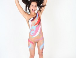Skinny naked teen gets her body and pussy painted