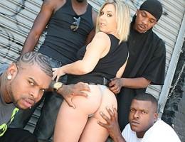 Big tits blond 4-on-1 interracial gangbang CUM