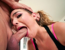 Naughty Blair gets flexible for face fucking from two cocks.