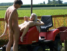 Horny old dude shagging a much younger sexy blonde cutie