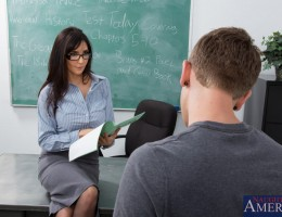 Diana Prince gives student one more chance at his test by fucking her tight pussy on her desk.