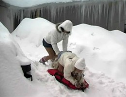 Two teenage winter queens toying eachothers tight pussy
