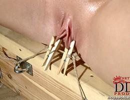 Blonde cutie Viktoria Diamond bound and pissin in the sauna!