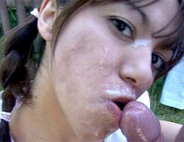 Teenie cutie receives a big load of cum on her cute face