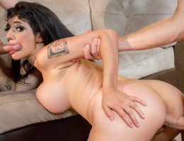 Arabelle gets double the pleasure from two hard cocks.