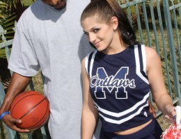 A cheerleader only has eyes for big black cock