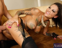 The busty and tattooed Bonnie Rotten always get what she wants. Today, she wants her best friend\'s boyfriend. She seduces him and has him bang her on the staircase, the couch, all over her friend\'s house.