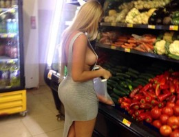 Busty sluts with little clothing in public