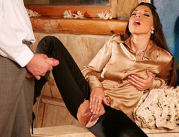 Very horny clothed brunette screwing a hotshot hardcore