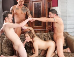 Petite blonde babe dicked every hole by three horny guys !