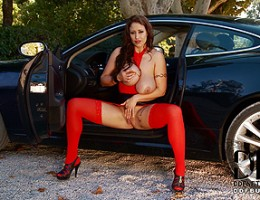 Eva Notty Getting Naughty With Her 34J\'s Atop a Jaguar HK