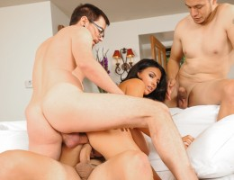 Sexy teacher gets plowed by three students in hot DP scene !
