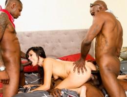 Black guy and his cousins gangbang the nasty slut Cece Stone