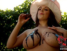 Easter babe melts chocolate eggs on her gorgeous big tits