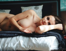 Slim and busty babe Maible in bed