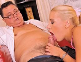Naughty horny school girl fucks dirty old man on the sofa