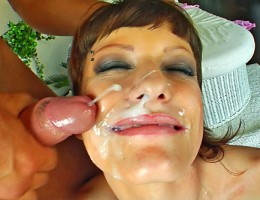 Three lucky guys get blowjobs and unload on this cute babes face