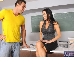 Vanilla DeVille talks to one of her students but then sucks his dick and gets fucked on her desk.