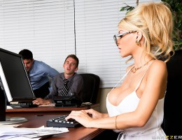 Danny D and his asshole friends are always giving Kayla Kayden a hard time just because she\'s got big tits and gorgeous long legs. But when their boss takes off for a week and leaves Kayla in charge, she decides she\'s going to make Danny pay her back in
