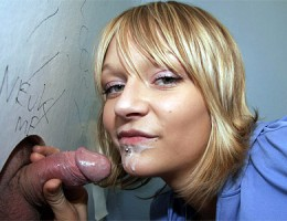Teen girl swallows a stranger his big load of cum in toilet