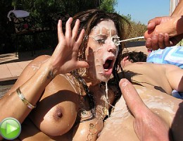 Slutty cunts fucked and drowned in cum outdoors