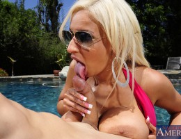 Holly Brooks is turned on when her friend shoos away an annoying guy so she returns the favor by letting him fuck her.