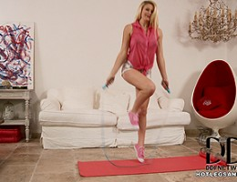 Tegan Jane performs sexy exercises and sniffs her socks