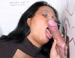 Dirty Asian slut sucking a big anonymous gloryhole cock