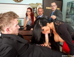 Romi Rain rules over her office with an iron fist. When an employee is caught slacking, she makes an example out of them. But when Danny D complains to management, Romi\'s told to make her employees like her or else she\'ll be fired! The first thing the b