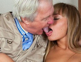 Old guy fucking these beautiful chicks together with friend