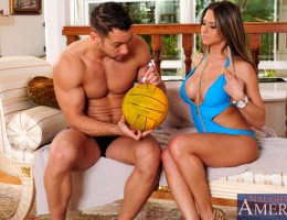 Gorgeous Rachel Roxxx gets ball signed and then breasts before getting fucked by her famous neighbor.